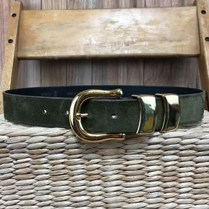 Patricia Green green suede belt gold buckle